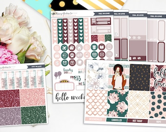 Fall In Love   FULL Vertical Weekly Planner Sticker Kit  for use with Erin Condren Lifeplanner™, Filofax, Personal, A5, Happy Planner