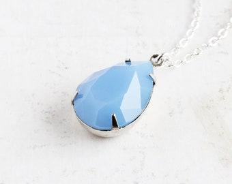 Opalescent Blue Necklace, Light Blue Teardrop Necklace, Large Rhinestone Pendant, Prom Jewelry