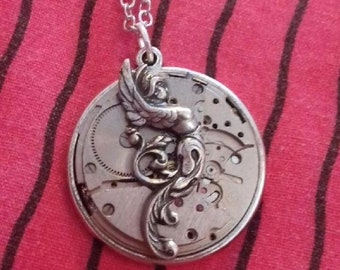 Necklace steampunk gears silver watch with Angel soldier