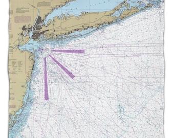 NY: Long Island, NY Nautical Chart Fleece Throw Blanket, Map Blanket