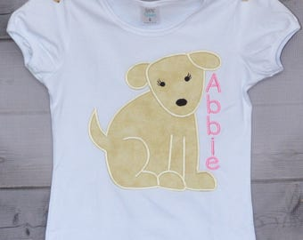 Personalized Puppy Dog Monogram Applique Shirt or Bodysuit Boy or Girl