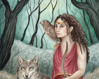 """Artemis of the Mists - 8x10"""" Matted Art Print (11""""x14"""" framing size) - Digital Print of Original Watercolor Painting by Victoria Chapman"""
