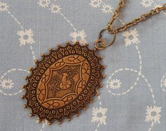 Oval Floral Decorative Pendant Necklace