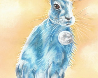"""Hare Art Print, limited edition - """"Lunar Hare"""""""