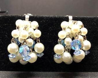 "Faceted AB Blue Glass &Lt. Blue Faux Pearl Cluster Dangle Clip Earrings 1.5"" Vtg"