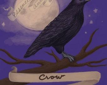 Crow Spirit Animal Print | Spirit Animal Art | Crow Painting | Crow Art | Crow Wall Art | Raven Art | Bedroom Decor | Spirit Animal