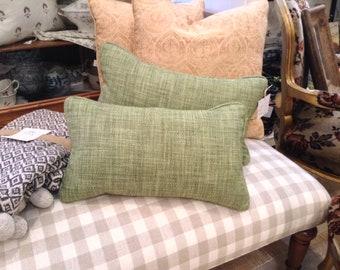 "Beautiful Apple Green Woven Jane Churchill Fabric as Custom Decorative Designer Pillows 20"" x 12"" - Each Sold Separately"