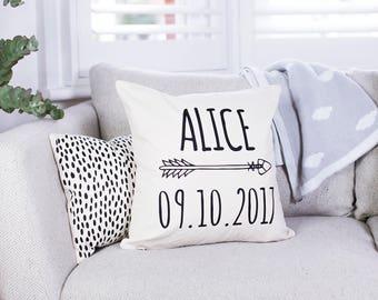 Personalised Arrow Nursery Cushion - Arrow Cushion - Name Cushion - Date Cushion - New Baby Cushion - Personalised Cushion - Custom Cushion