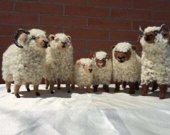 Needle felted sheep flock, nativity ornament, ram doll, sheep sculpture, lamb doll, nature table, waldorf doll, sheep doll, wool