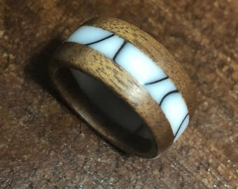 Recycled Australian Acacia Wood and Acrylic Marble Color Ring