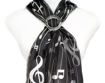 Scarf and Slide-Music Notes & Lines on Black Scarf PLUS Clear Round Scarf Slide. Perfect scarf-slide holds the scarf in place. 8735-1305