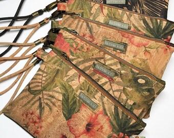 Brynwood Needleworks Vintage Hibiscus Cork Grab and Go Clutch, Cork Simple Clutch, Cork Zipper Clutch, Grab and Go Wristlet, Cork Wristlet