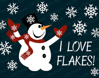"Digital Design ""I love Flakes!"" Instant Download- Includes svg, png, jpeg, dxf, & eps formats."