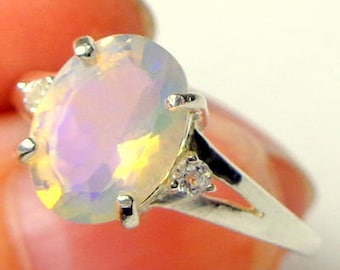 Sz 7, Welo Opal Ring, Faceted Ethiopian Opal,Sterling Silver, Semi-Transparent,Natural Gemstone,Lavender & Blue Spit Fire,Peach Color Play