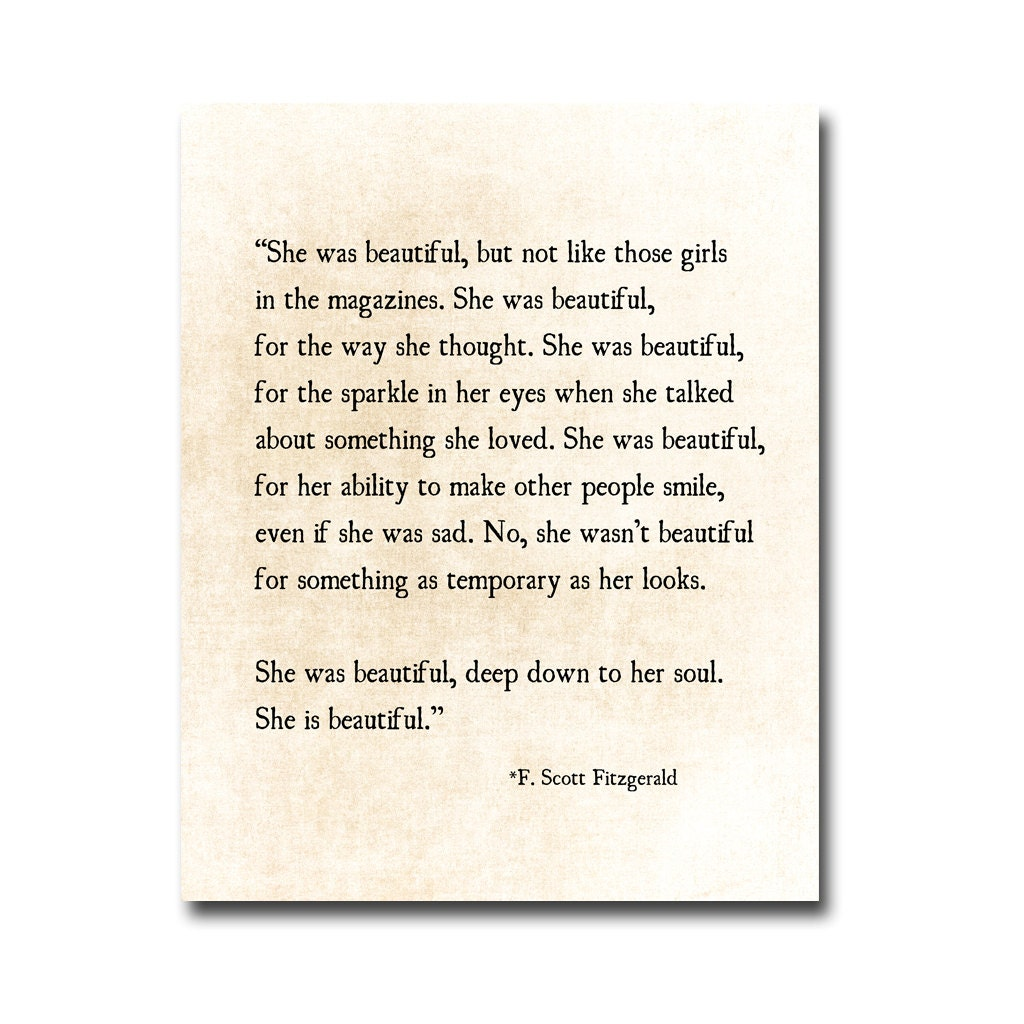 Love Quotes F Scott Fitzgerald Fscott Fitzgerald Quote Print She Was Beautiful Fitzgerald