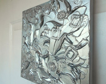 Silver Abstract Art, Textured Painting, Original Wall Art Metallic Sculpture, Palette Knife Impasto Painting, Modern Contemporary Made2Order
