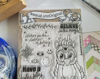 Clear photopolymer stamps 4x4 Christmas rubber stamps reindeer stamp Brentwood owl from JessicaLynnOriginal operation snowball sentiments