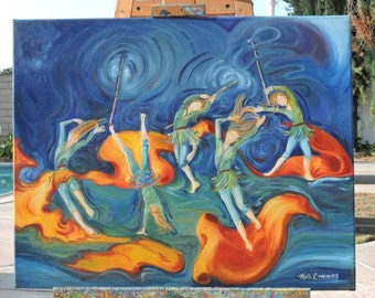 Fairy Art, Original, Oil, Painting, Fairies, Color Guard, Dancers, Abstract, Whimsical,  Wall Art, Canvas, Art with Motion, Contemporary