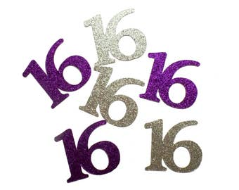 Custom age number confetti - 16th birthday, Sweet 16, Silver and Purple Party 21, Celebration
