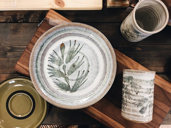 & Vintage Hand Thrown Pottery Plates / Set of Pottery Plates /