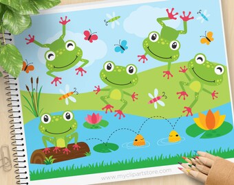 Frog on a log vector clipart, red toed frog, duck pond, lily pad, five little speckled frogs, Commercial Use, Vector clip art, SVG Files