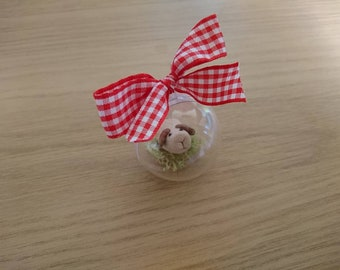Bauble with a cute miniature Guinea pig.  Guinea pig is made from Fimo.