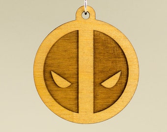 Deadpool Keychain Wooden - Deadpool Logo Carved Wood Key Ring - Deadpool Wooden Laser Engraved Charm