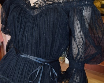 1970's Black Chiffon Gypsy Styled Dress by Frank Usher
