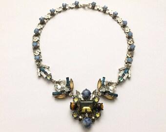Art Deco inspired Swarovski crystal Necklace, Smokey Topaz Necklace, High Fashion Jewellery