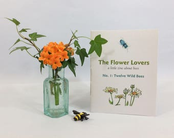 The Flower Lovers, a zine about bees. Illustrated zine with watercolor art of 12 wild bees. Natural history facts and how to save the bees.