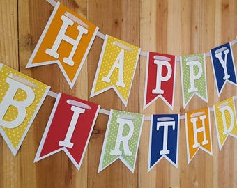 Polka Dot and Solid Happy Birthday Banner, High Chair Banner, One Banner, I Am One Banner