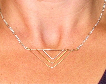 Geometric triple chevron, gold and silver, minimalist necklace, chevron necklace