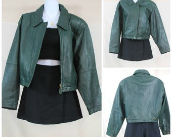 90s Genuine Leather Forest Green Jacket | VTG 1990s Leather Jacket