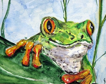 Original ACEO watercolor painting Curious Frog - Miniature Painting, Small Painting, Art and Collectables - ACEO Watercolor 2.5 x 3.5 inches