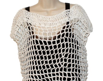 Cotton Crop Top, Womens Clothing, Plus Size Tee, Womans Top, White Tee, Crochet Top, White T, Mesh Tee, Crochet Tee, Summer Top