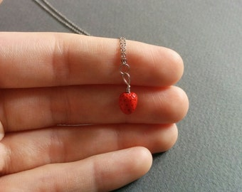 Little red strawberry.  Necklace.