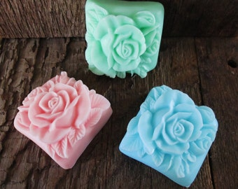 10 Lovely Rose Shea Butter Soap Bar Wedding, Bridal Shower Favor Hostess Gift 2.4 oz.