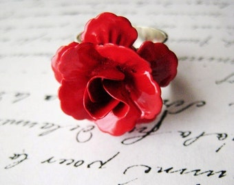 Red rose ring. Red flower ring. Cherry red ring. Metal rose ring. Metal flower ring. Romantic ring. Silver ring. Blood red ring.