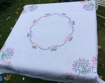Vintage Hand Embroidered Tablecloth Table linen