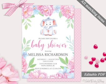 Elephant guest list template printable baby shower guest pink flowers and elephant baby shower invitation template printable baby shower invitation floral peony mightylinksfo Image collections