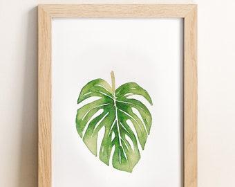 Watercolor Botanical Print, Tarovine, Tropical Leaf Art, Tropical Plant Print, Tropical Artwork, Tropical Leaf Decor