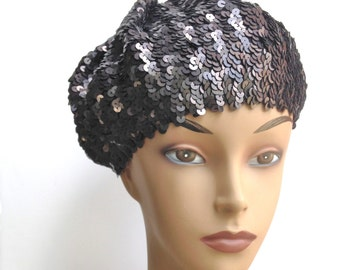 Black Sequin Beret Vintage Black Tam Crochet Hat 70s Hip Hop Hat