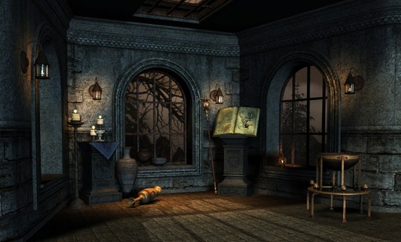 Halloween Backdrop Old Room With Candle Scary House