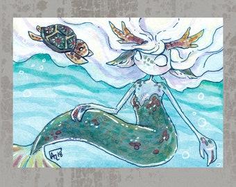 MerMay 2018 Card 1 - Original ACEO, watercolor painting