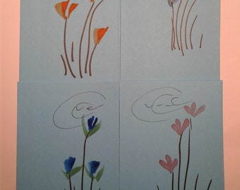 hand painted, cards, flowers, junk journal, birthdays, greetings, blank inside, special occasion,