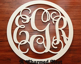 "35"" Extra Large Wooden Monogram with Round Border, Wood monogram, Wedding Guestbook, Nursery Monogram, Wall Decor/Bedroom decor, Entry Way"