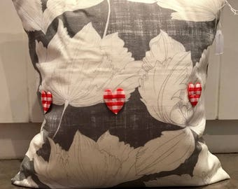 Grey Floral Cushion with 3D Gingham Heart Decoration