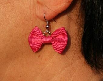 Fuchsia bow earrings