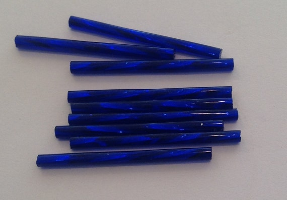 20 x silverlined cobalt blue 30mm twisted bugle beads