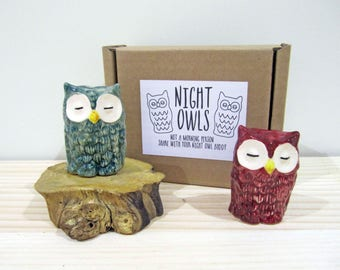 Night Owls - Owl Figurines - Owl Gift - Ceramic Owls - Hand Painted Owls - Gifts for her - Owls - Collectables - Best Friend Gift